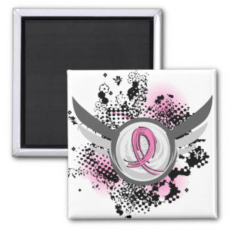 Pink Ribbon And Wings Breast Cancer Refrigerator Magnets