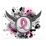 Pink Ribbon And Wings Breast Cancer Postcard