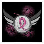 Pink Ribbon And Wings Breast Cancer Poster