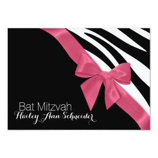 Pink Ribbon and Zebra Stripes Bat Mitzvah Card