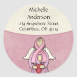 Pink Ribbon Angel D1 Return Address Labels Round Stickers