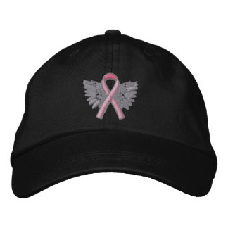 Pink Ribbon Angel Wings Logo Breast Cancer Embroidered Baseball Hat