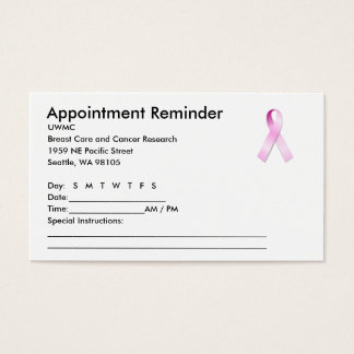 Pink Ribbon Appointment Reminder Business Card