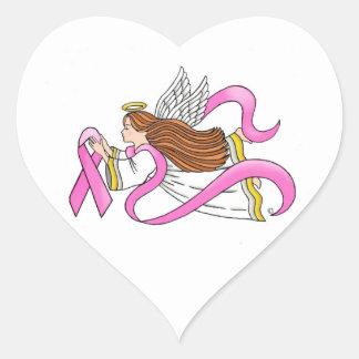 """""""Pink Ribbon"""" Awareness Angel Heart Sticker"""