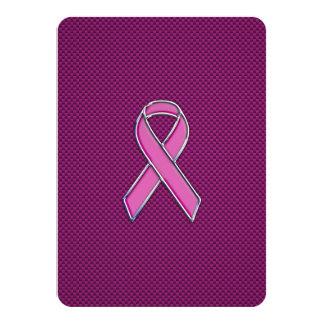 Pink Ribbon Awareness Carbon Fiber Decor Card
