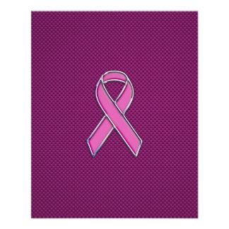 Pink Ribbon Awareness Carbon Fiber Decor Flyer