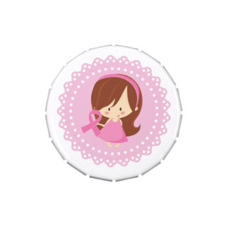 Pink Ribbon Awareness Girl Breast Cancer Support Jelly Belly Tins