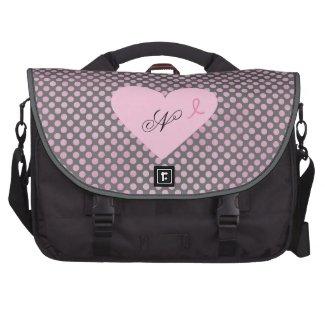 Pink Ribbon Awareness Gray and Pink Polka Dots Commuter Bag