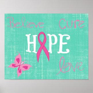 Pink Ribbon Awareness Inspirational Words Poster