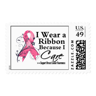 Pink Ribbon Because I Care - Breast Cancer Stamps