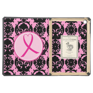 Pink Ribbon Black Damask Breast Cancer Awareness iPad Air Cover