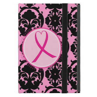 Pink Ribbon Black Damask Breast Cancer Awareness Cover For iPad Mini