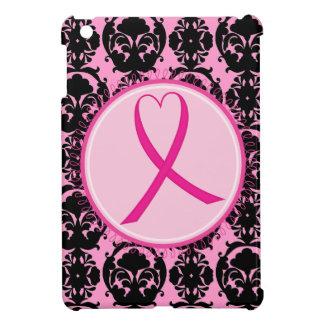 Pink Ribbon Black Damask Breast Cancer Awareness iPad Mini Covers