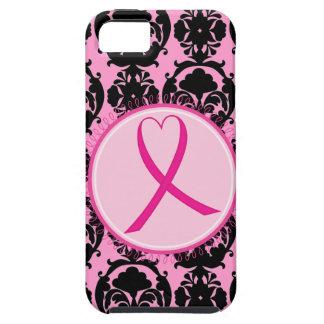 Pink Ribbon Black Damask Breast Cancer Awareness iPhone SE/5/5s Case
