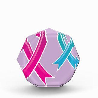 Pink Ribbon Blue Ribbon Acrylic Award