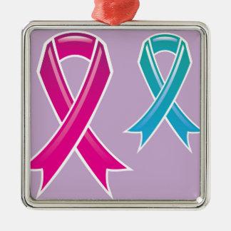 Pink Ribbon Blue Ribbon Metal Ornament