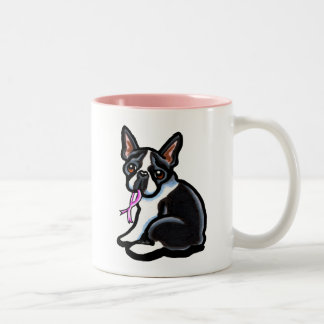 Pink Ribbon Boston Terrier Two-Tone Coffee Mug