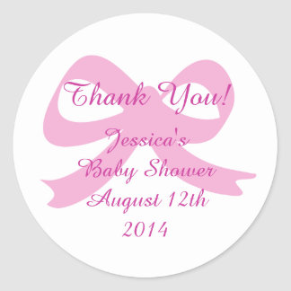 Pink ribbon bow thank you stickers for baby shower