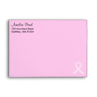 """Pink Ribbon Breast Cancer A7 (7 ¼"""" x 5 ¼"""") Envelope"""