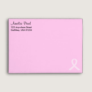 "Pink Ribbon Breast Cancer A7 (7 ¼"" x 5 ¼"") Envelope"