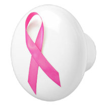 Pink Ribbon Breast Cancer Awareness Ceramic Knob