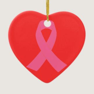 Pink Ribbon - Breast Cancer Awareness Ceramic Ornament