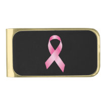 Pink Ribbon - Breast Cancer Awareness Gold Finish Money Clip