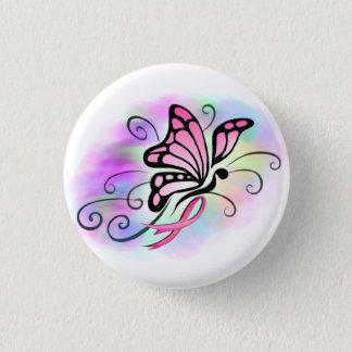 pink ribbon breast cancer awareness hope design button