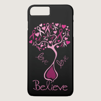 Pink Ribbon Breast Cancer Awareness Love & Believe iPhone 7 Plus Case