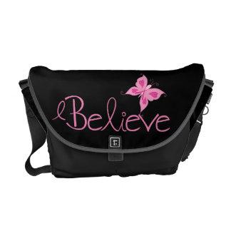 Pink Ribbon Breast Cancer Awareness Messenger Bag
