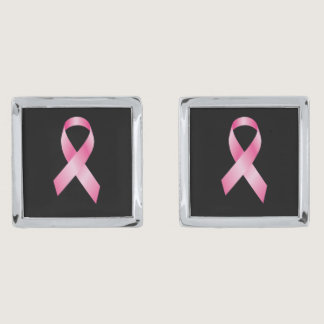 Pink Ribbon - Breast Cancer Awareness Silver Cufflinks