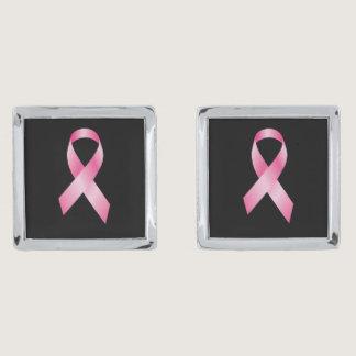 Pink Ribbon - Breast Cancer Awareness Silver Cufflinks