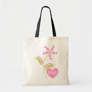 Pink Ribbon Breast Cancer Awareness Survivor Tote Bag