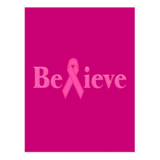 Pink Ribbon Breast Cancer Believe Postcard