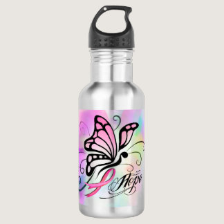 pink ribbon, breast cancer butterfly watercolor stainless steel water bottle