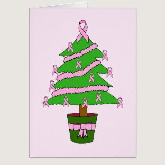Pink ribbon breast cancer Christmas  tree. Card