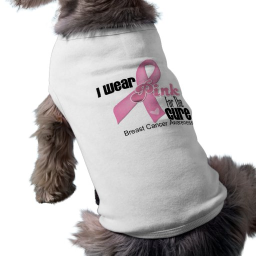 Pink Ribbon Breast Cancer Cure Pet T Shirt
