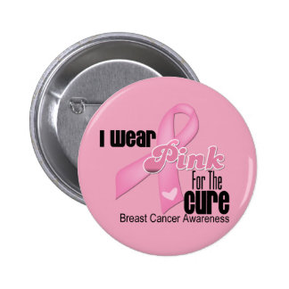 Pink Ribbon Breast Cancer Cure Pinback Button