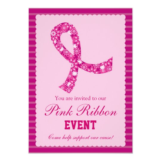 Pink Ribbon Breast Cancer Event Invitation Zazzle Com