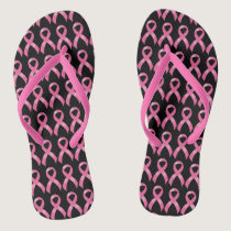 Pink Ribbon Breast Cancer Flip Flops