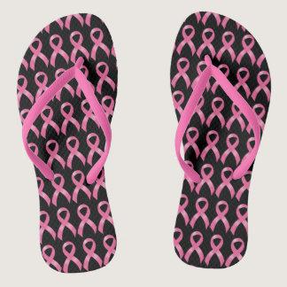 Pink Ribbon Breast Cancer Flip Flops