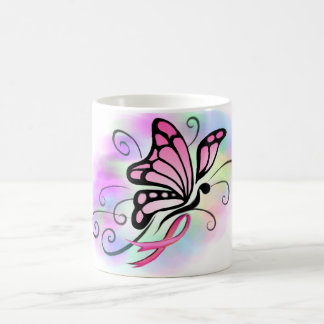 pink ribbon breast cancer hope butterfly design coffee mug