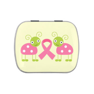 Pink Ribbon Breast Cancer Ladybug Awareness Jelly Belly Candy Tins