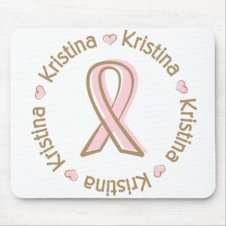 Pink Ribbon Breast Cancer Name Kristina Mouse Pad