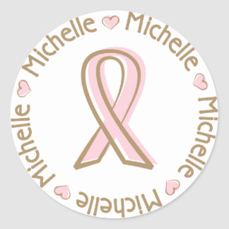 Pink Ribbon Breast Cancer Name Michelle Classic Round Sticker