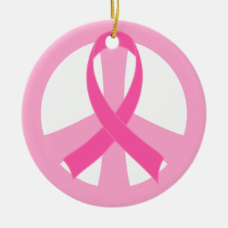 Pink Ribbon Breast Cancer Peace Sign Gift Ceramic Ornament