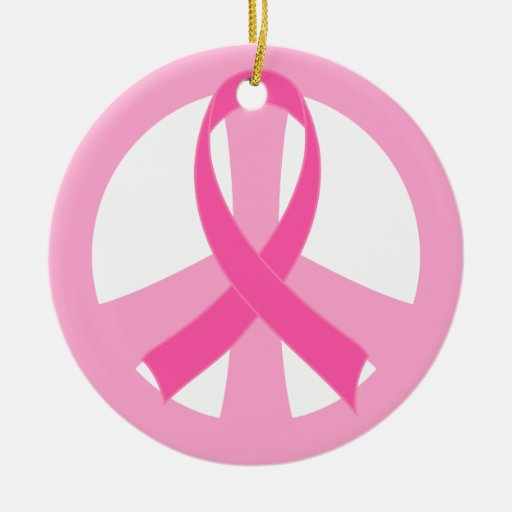 Pink Ribbon Breast Cancer Peace Sign Gift Christmas Ornament