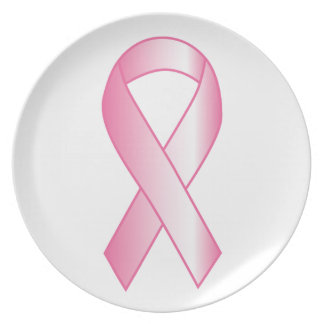 Pink Ribbon Breast Cancer Research Plate