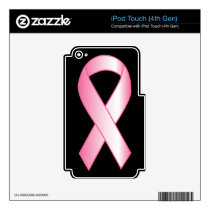 Pink Ribbon Breast Cancer Research Skin For iPod Touch 4G
