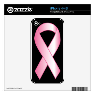 Pink Ribbon Breast Cancer Research Skin For The iPhone 4